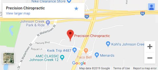 Map of Johnson Creek WI Chiropractors